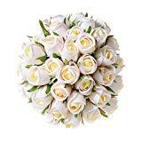 Offer for T4U 36 Heads Artificial Flowers Silk Faux Flowers Bouquet Fake Roses with Stems for Flowers Arrangement Wedding Bouquet Table Centerpieces Home Garden Party Decoration (Champagne,18pcs/Pack)
