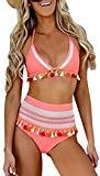 Offer for NuoReel Women High Waist Bikini Two Pieces Tankini Bottom Padded Striped Tassel Swimsuit Pink X-Large