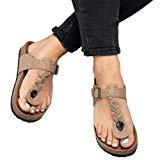 Offer for Womens Platform Thong Flip Flops T Strap Braided Cork Flat Sandals Khaki