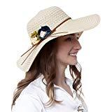 Offer for REDNITY Women Summer Beach Sun Hats Beige Travel Packable UV Protection Wide Brim Straw Cap (Beige)