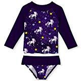 Offer for UNIFACO Little Toddler Girls Tankini 3D Galaxy Stars Unicorn Print Long Sleeve Rashguard Set Tankini with UPF 50+ Sun Protection