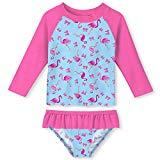 Offer for UNIFACO Little Girls Rash Guard Flamingo Printed 2-Piece Swimsuit Set - Long Sleeve Bikini for Summer Beach Party Size 3-4 T