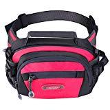 Offer for Y&R Direct Fanny Pack Waist Bag Packs Large Running Belt Bum Purse Bags with Bottle Holder Extension Strap Women Men Boy Girls Kids Gifts Waterproof Multicolor Outdoor Walking Hiking (Rosered)