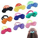 Offer for SUSULU Scrunchies Hair Ties Set - Pack of 18 Elastic Bowknot Deco Hair Rope Fluorescence Hair Ring for Women(9 Colors Mixed)