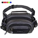 Offer for Y&R Direct Fanny Pack Waist Bag Packs Large Running Belt Bum Purse Bags with Bottle Holder Extension Strap Women Men Boy Girls Kids Gifts Waterproof Multicolor Outdoor Walking Hiking (Black)