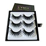 Offer for LVMIX 3D False Eyelashes Faux Mink Eyelashes Pack Full Fluffy Fake Lashes Handmade 3 Pairs
