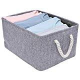 Offer for StorageWorks Rectangular Basket, Foldable Storage Bin with Rope Handles for Babies Nursery Toys Organizer, Canvas Linen, Gray, 1-Pack