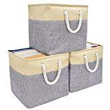 Offer for StorageWorks Collapsible Storage Baskets, Foldable Storage Cubes with Handles for Babies Nursery Toys Organizer, Canvas Linen, Gray/Beige, 13�x13�x13�, 3-Pack