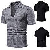 Offer for Men's Fashion Solid Color Shirts - Short Sleeve U-Neck Polo Top Summer Casual Lapel Blouse