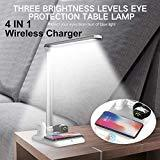 Offer for FrideMok 4 in 1 Wireless Charging LED Desk Lamp,Foldable Night Lamp with USB Port Eye Protection Adjustable Luminosity for iPhone/Airpods/iWatch (White+Silver)