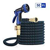 Offer for WUYASTA Expandable Garden Hose 50ft - Water Hose 10 Function Spray Nozzle - 3/4 inch Solid Brass Fittings Extra Strength Fabric [Upgraded 2019]