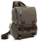 Offer for Unisex Lightweight Multi Pockets Canvas Small Day Bag School Backpack Vintage Travel Hiking Rucksack for Men/Women Daypack