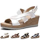 Offer for CINAK Platform Sandals for Women| Comfort Ankle Strap Buckle Casual Summer Wedge Shoes White