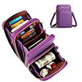 Offer for JOSEKO Crossbody Bag, Women Solid PU Leather Clutch Bag Card Bag Phone Bag Crossbody Bag (Purple)