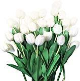 Offer for BauiWelf 25pcs Big Tulips Artificial Flower Arrangements for Home Table Party Wedding Garden Decoration White