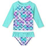 Offer for UNIFACO Toddler Girls Rashguard Set Long Sleeve 3D Fish Scale Casual Beach Swimsuit Tankini with UPF 50+ Sun Protection