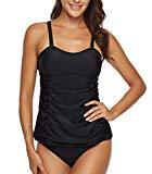 Offer for T1FE 1SFE Women Ruched Solid Two Piece Swimsuit Tankini Set Push Up Tummy Control Swimwear