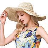 Offer for Straw�Hat�Large Wide Brim�Foldable�Summer�Fedora�Floppy�Sun Hat�for Women UV-Protective Beige Color