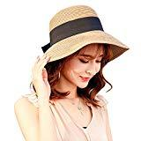 Offer for Sun Hat Wide Brim Straw Hat Summer Bowknot Floppy Travel Fedora Sun Protective for Women Khaki
