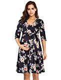 Offer for Coolmee Women's Wrap Maternity Dress Half Sleeve Empire Waist Midi Dress with Belt (XL, Black with White Flower)