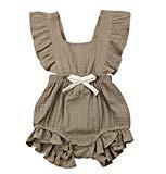 Offer for Euvinla Infant Baby Girl Cotton One-Piece Romper Ruffled Candy Color Cute Bodysuit Summer Newborn Clothes Outfit (Grey, 90/12-18months)