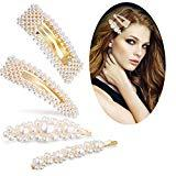 Offer for Pearls Hair Clips - Wellstyle Hair Barrettes for Girls Women Wedding Bridal Hair Pins Decorative Gold Fashion Styles Handmade Clip Hair Styling Headwear Accessories for Ladies Women Gifts 4 Pack