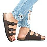 Offer for Womens Flat Sandals Cork Sole Buckle Slip On Slides Flip Flops D - Brown