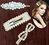 Offer for Pearls Hair Clips - Wellstyle Hair Barrettes for Girls Women Wedding Bridal Hair Pins Decorative Gold Fashion Styles Handmade Clip Hair Styling Headwear Accessories for Ladies Women Gifts 3 Pack
