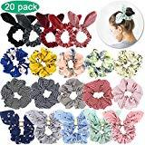 Offer for Scrunchies with Bow, WEST BAY 20Pcs Scrunchies for Hair Velvet Silk Satin Chiffon Hair Elastic Ties Bands Ropes Cute Bunny Ear Red Pink Gold Sliver Yellow Ponytail Holder Scrunchy for Women Girls