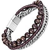 Offer for murtoo Mens Bead Leather Bracelet, Blue and Brown Bead and Leather Bracelet for Men (brown-coffee)
