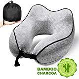 Offer for Travel Pillow, 100% Pure Memory Foam Neck Pillow for Airplane, Car, Super Soft Comfortable Sweat-absorbing Pillow with Portable Washable Coat, Ergonomic Design(Gray)