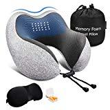 Offer for Keenstone Travel Pillow, Memory Foam Neck Pillow, Airplane Travel Kit with 3D Sleep Mask, Earplugs&Luxury Bag, Comfortable & Breathable Cover - Machine Washable