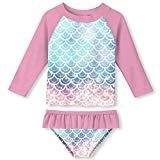 Offer for Girls Rash Guard Swimsuit Set Novelty, Mermaid Scales-Pink, Size 5-6 Years