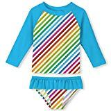 Offer for ALOOCA Infant Girls Stretchy Neckline Colorful Stripes Two Pieces Rash Guard Set Beach Long Sleeve Quick Drying Bathing Suit 2T Rainbow-Blue