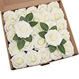 Offer for YSBER Roses Artificial Flowers - 50Pcs Big PE Foam Rose Artificial Flower Head for DIY Wedding Bouquets Centerpieces Bridal Shower Party Home Decorations (25 PCS, Ivory)