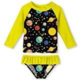 Offer for Girls 2 Pieces Rash Guard Swimsuit Set Yellow Galaxy Print Bikini Bathing Suit 3-4T