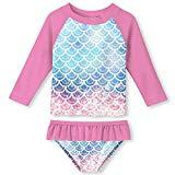 Offer for Little Girls Rash Guard Two Pieces Set Summer Beach UPF 50+ Sun Protection Bathing Swimwear Pink Mermaid Scales 7-8T