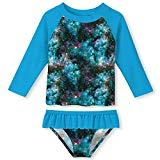 Offer for Kid Girls Blue Galaxy Two Pieces Rash Guard Swimsuit Set Printed Casual Holiday Swimming Set Beach Bathing Suit 7-8T