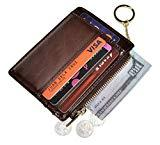 Offer for Womens Slim RFID Credit Card Holder Mini Front Pocket Wallet Coin Purse Keychain (Oil Coffee)