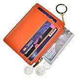 Offer for Womens Slim RFID Credit Card Holder Mini Front Pocket Wallet Coin Purse Keychain (Oil Orange)