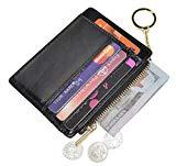 Offer for Womens Slim RFID Credit Card Holder Mini Front Pocket Wallet Coin Purse Keychain (Oil Black)
