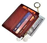 Offer for Womens Slim RFID Credit Card Holder Mini Front Pocket Wallet Coin Purse Keychain (Oil Wine Red)