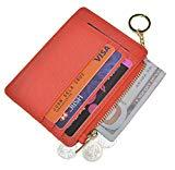 Offer for Womens Slim RFID Credit Card Holder Mini Front Pocket Wallet Coin Purse Keychain (Crosshatch Red)