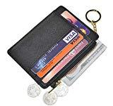 Offer for Womens Slim RFID Credit Card Holder Mini Front Pocket Wallet Coin Purse Keychain (Crosshatch Black)