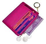 Offer for Womens Slim RFID Credit Card Holder Mini Front Pocket Wallet Coin Purse Keychain (Oil Rose)