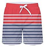 Offer for uideazone Stripes Men's Summer Casual Shorts Beachwear Sports Swimming Short Trunks Breathable Quick Dry Surf Shorts Pink and Grey