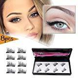 Offer for Magnetic Eyelashes Dual Magnets False Eyelashes with Tweezer NO GLUE Fake Lashes Extension for Natural Look 8 Pieces /2 pair ...