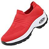 Offer for RomenSi Women's Fashion Sock Platform Sneakers Tennis Walking Shoes Lightweight Casual Sports�Slip on Air Cushion Wedge Loafers Red 9.5 B(M) US