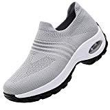 Offer for RomenSi Women's Fashion Sock Platform Sneakers Tennis Walking Shoes Lightweight Casual Sports�Slip on Air Cushion Wedge Loafers Grey 8 B(M) US