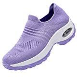 Offer for RomenSi Women's Fashion Sock Platform Sneakers Tennis Walking Shoes Lightweight Casual Sports�Slip on Air Cushion Wedge Loafers Purple 8.5 B(M) US